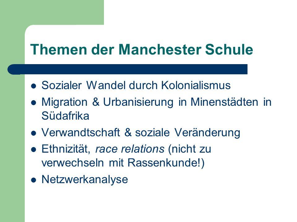 Themen der Manchester Schule Sozialer Wandel durch Kolonialismus Migration & Urbanisierung in Minenstädten in Südafrika Verwandtschaft & soziale Verän