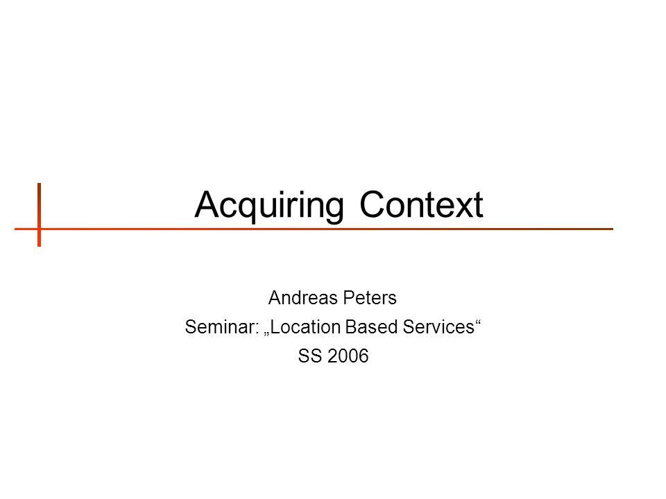 Andreas Peters Aquiring Context 2 Übersicht 1.Verwendung des Begriffes Kontext 2.Der Begriff aus Sicht verschiedener Philosophien 1.Realismus 1.Komponenten 2.Anwendungen 2.Konstruktivismus 1.Anwendungen 3.Fazit