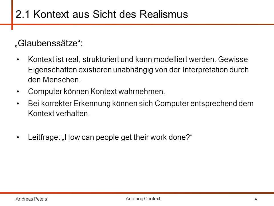 Andreas Peters Aquiring Context 5 2.1 Definitionen Schilit u.