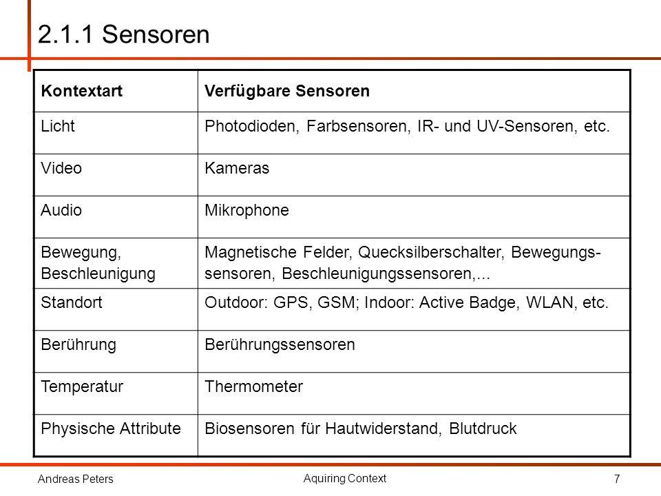 Andreas Peters Aquiring Context 7 2.1.1 Sensoren KontextartVerfügbare Sensoren LichtPhotodioden, Farbsensoren, IR- und UV-Sensoren, etc. VideoKameras