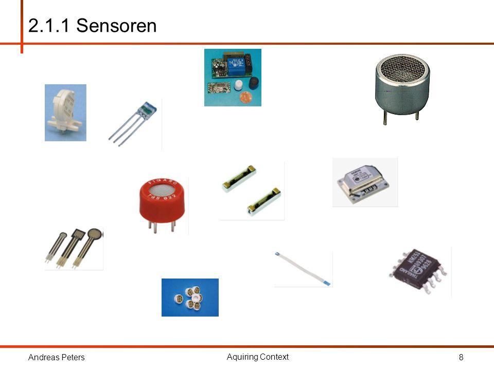 Andreas Peters Aquiring Context 8 2.1.1 Sensoren