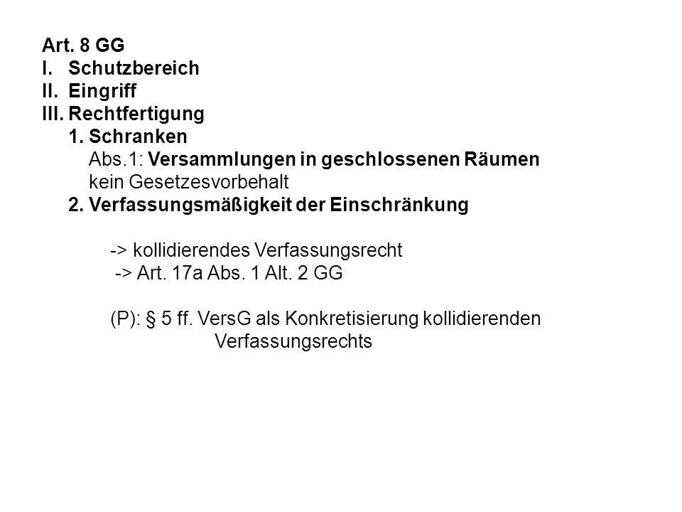 Art. 8 GG I. Schutzbereich II. Eingriff III. Rechtfertigung 1. Schranken Abs.1: Versammlungen in geschlossenen Räumen kein Gesetzesvorbehalt 2. Verfas