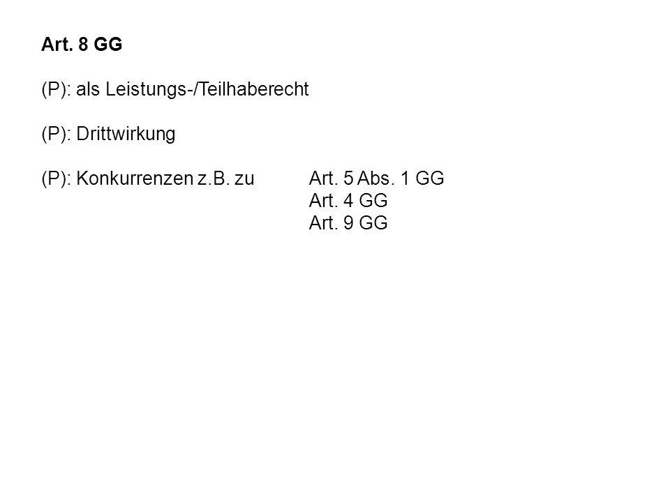 Art. 8 GG (P): als Leistungs-/Teilhaberecht (P): Drittwirkung (P): Konkurrenzen z.B. zu Art. 5 Abs. 1 GG Art. 4 GG Art. 9 GG