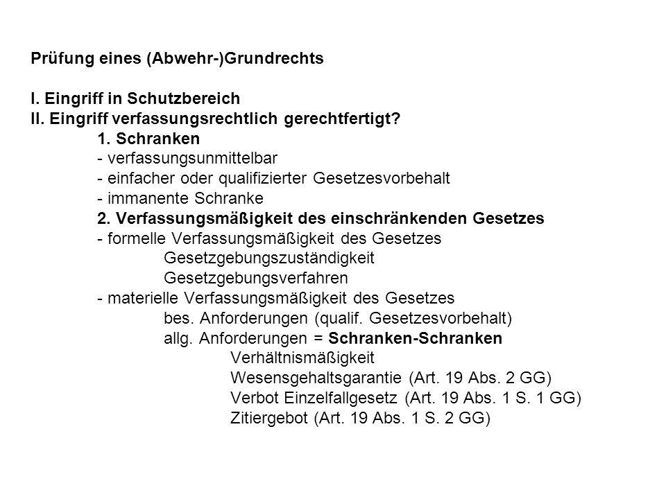 Prüfung eines (Abwehr-)Grundrechts I.Eingriff in Schutzbereich II.