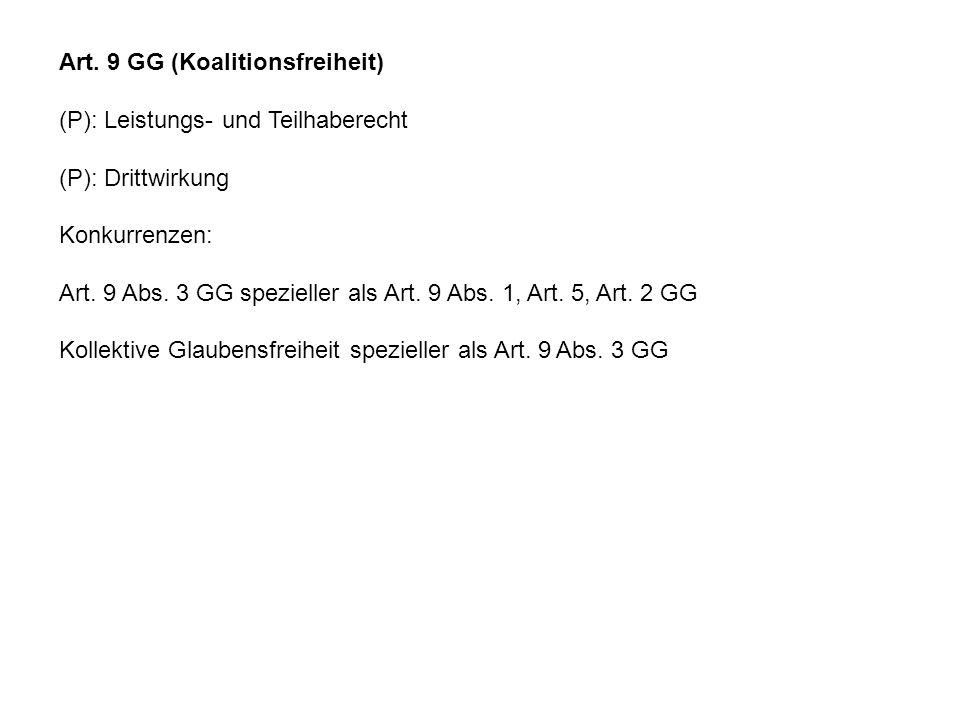 Art. 9 GG (Koalitionsfreiheit) (P): Leistungs- und Teilhaberecht (P): Drittwirkung Konkurrenzen: Art. 9 Abs. 3 GG spezieller als Art. 9 Abs. 1, Art. 5