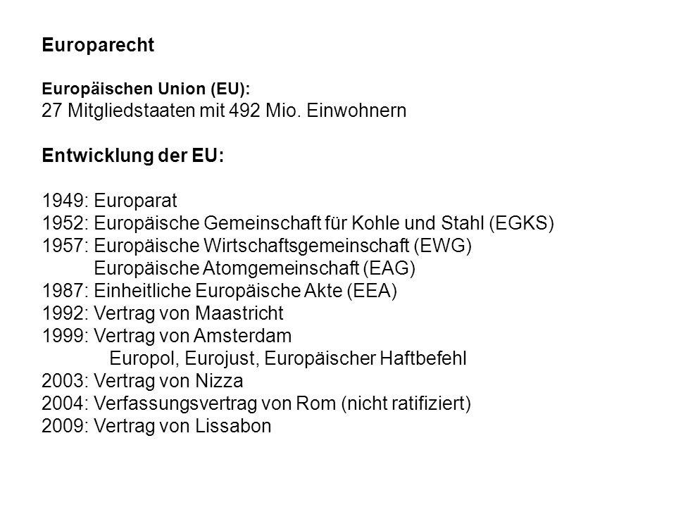 Europarecht Europäischen Union (EU): 27 Mitgliedstaaten mit 492 Mio. Einwohnern Entwicklung der EU: 1949: Europarat 1952: Europäische Gemeinschaft für