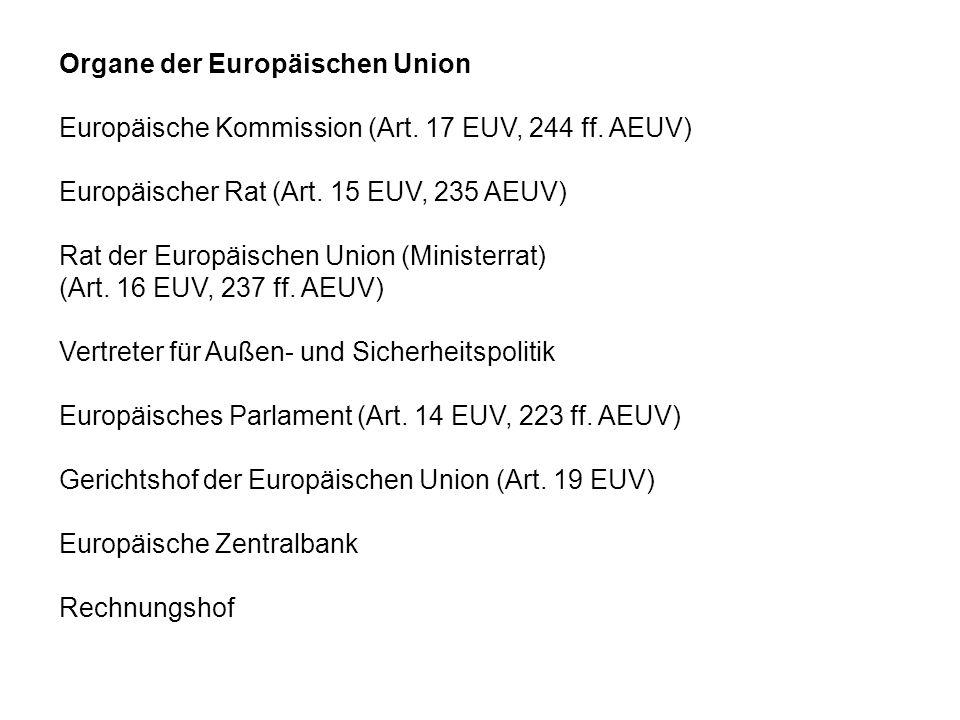 Organe der Europäischen Union Europäische Kommission (Art. 17 EUV, 244 ff. AEUV) Europäischer Rat (Art. 15 EUV, 235 AEUV) Rat der Europäischen Union (