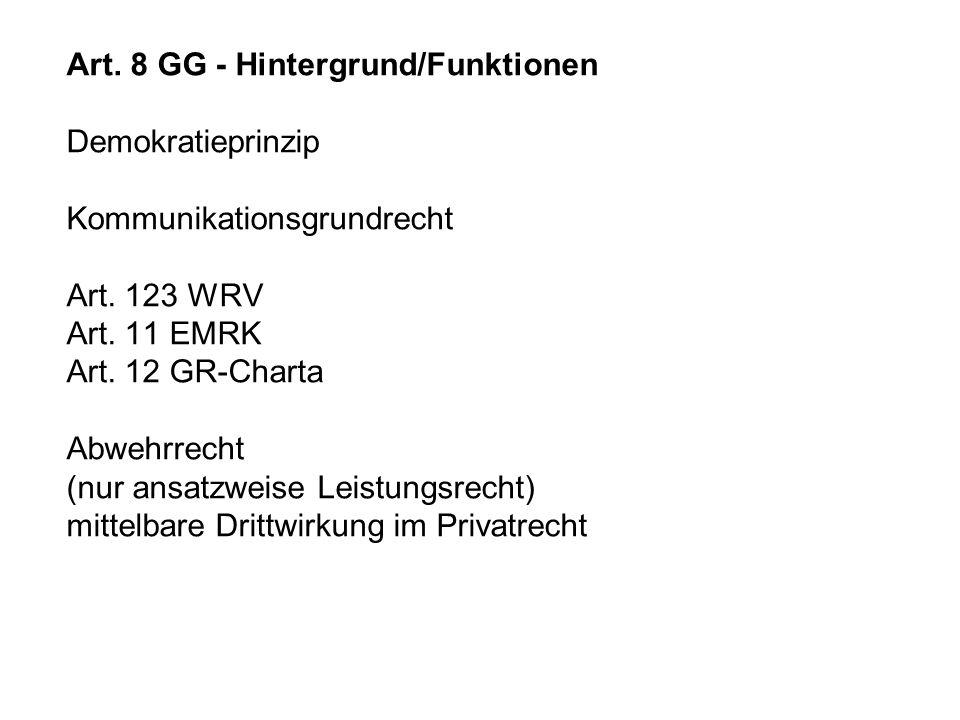 Art. 8 GG - Hintergrund/Funktionen Demokratieprinzip Kommunikationsgrundrecht Art. 123 WRV Art. 11 EMRK Art. 12 GR-Charta Abwehrrecht (nur ansatzweise