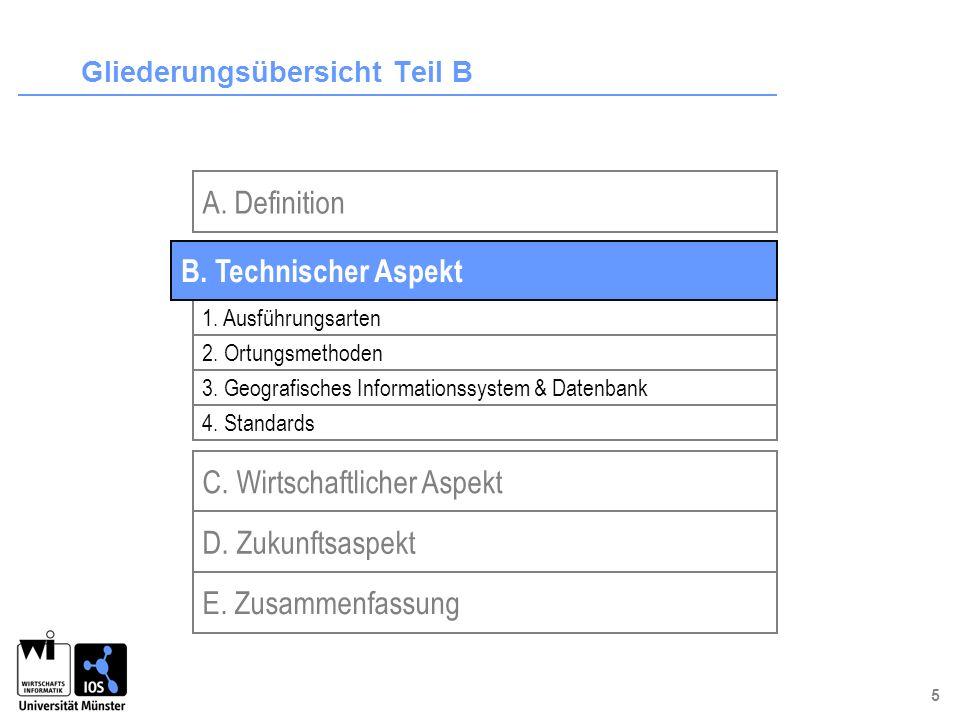 5 Gliederungsübersicht Teil B C. Wirtschaftlicher Aspekt D. Zukunftsaspekt 1. Ausführungsarten 2. Ortungsmethoden 3. Geografisches Informationssystem