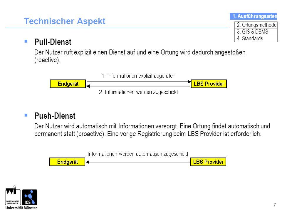 7 Technischer Aspekt Pull-Dienst Der Nutzer ruft explizit einen Dienst auf und eine Ortung wird dadurch angestoßen (reactive). Push-Dienst Der Nutzer