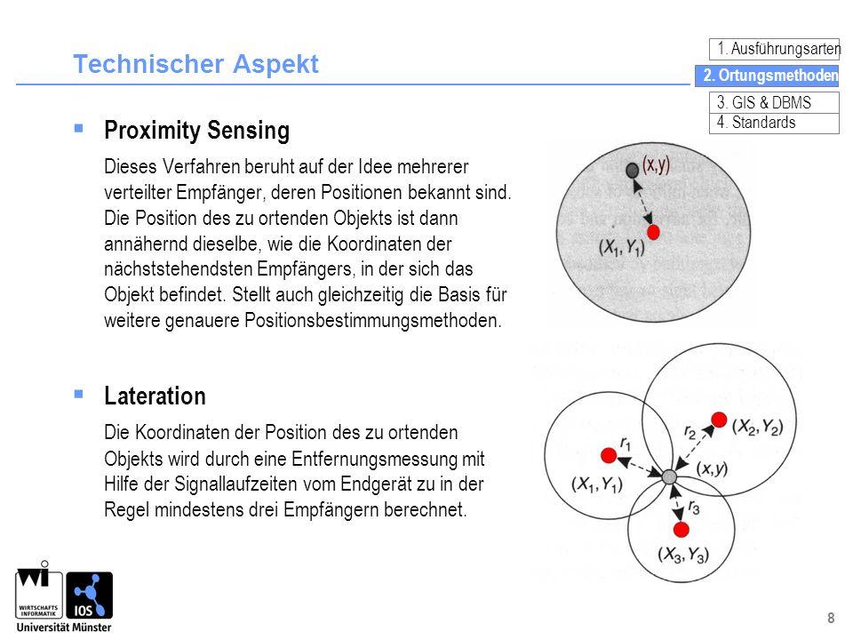8 Technischer Aspekt Proximity Sensing Dieses Verfahren beruht auf der Idee mehrerer verteilter Empfänger, deren Positionen bekannt sind. Die Position