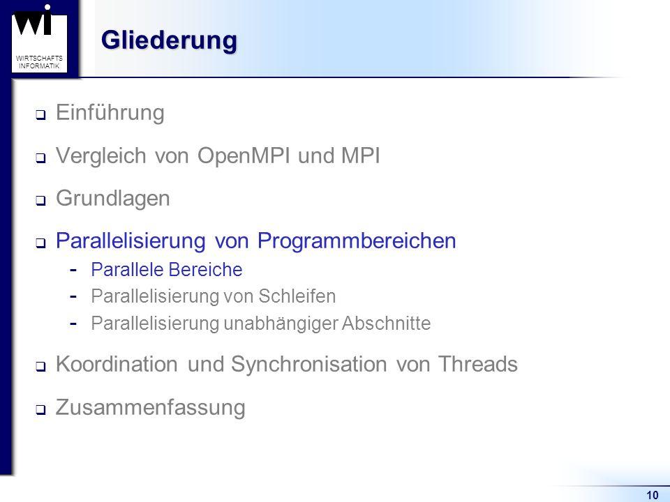 10 WIRTSCHAFTS INFORMATIKGliederung Einführung Vergleich von OpenMPI und MPI Grundlagen Parallelisierung von Programmbereichen  Parallele Bereiche 