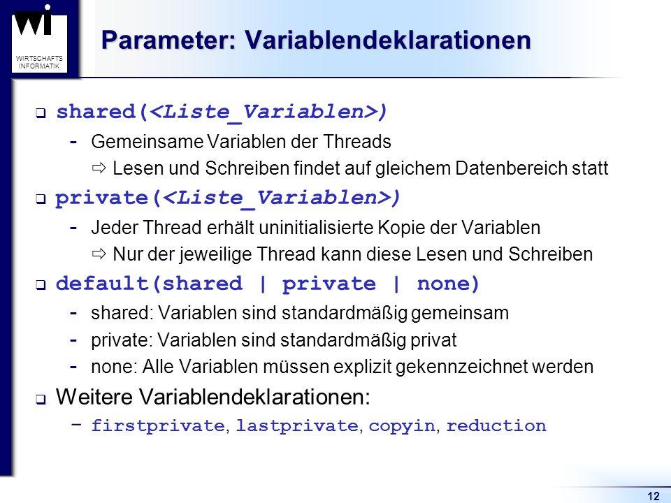 12 WIRTSCHAFTS INFORMATIK Parameter: Variablendeklarationen shared( )  Gemeinsame Variablen der Threads Lesen und Schreiben findet auf gleichem Daten