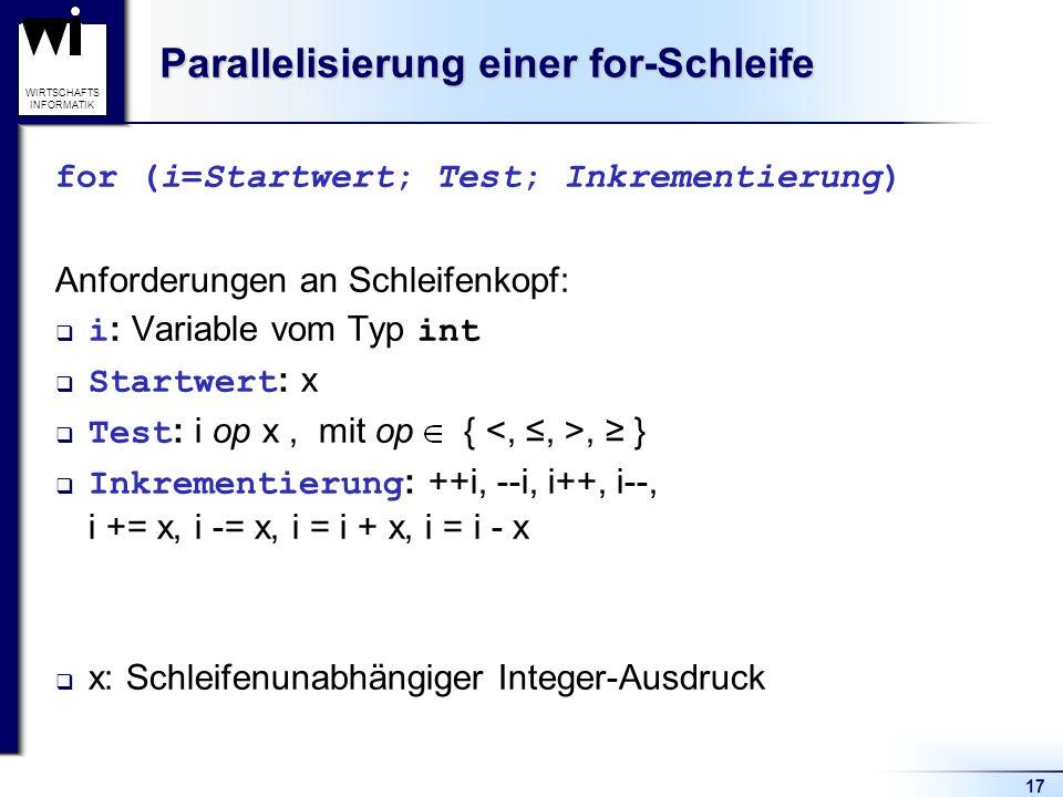 17 WIRTSCHAFTS INFORMATIK Parallelisierung einer for-Schleife for (i=Startwert; Test; Inkrementierung) Anforderungen an Schleifenkopf: i : Variable vo