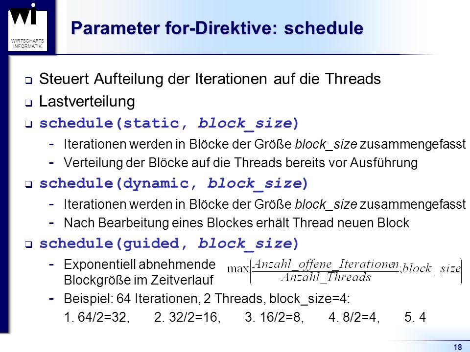 18 WIRTSCHAFTS INFORMATIK Parameter for-Direktive: schedule Steuert Aufteilung der Iterationen auf die Threads Lastverteilung schedule(static, block_s
