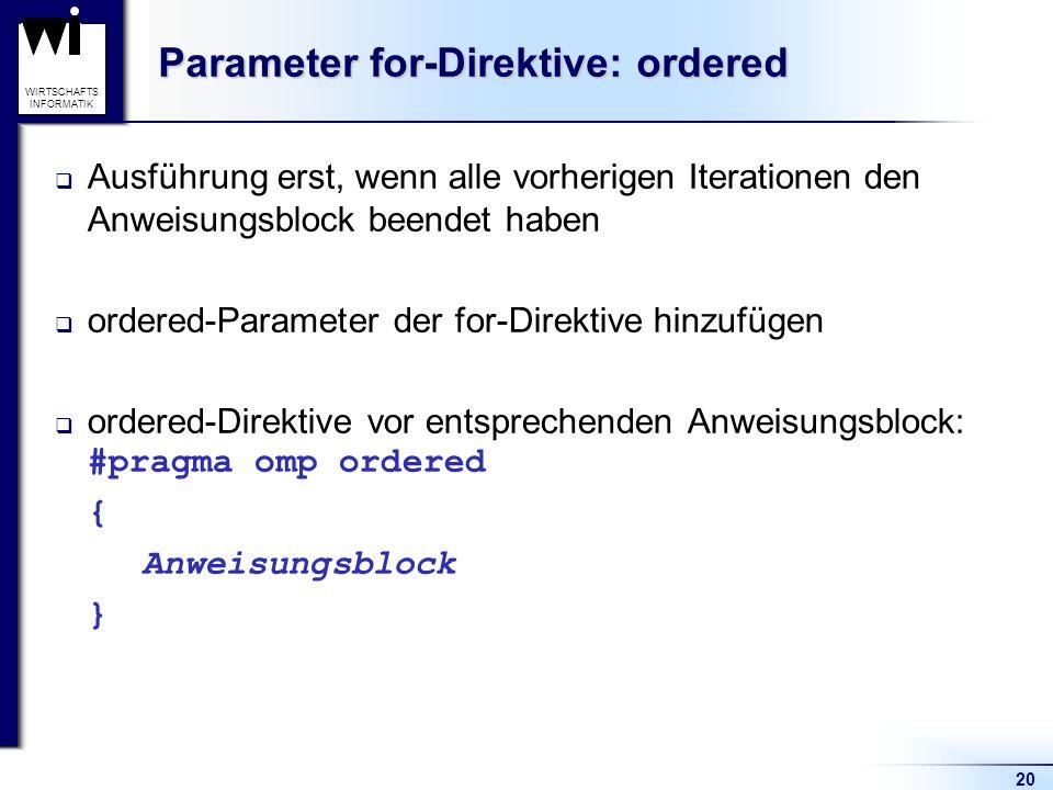20 WIRTSCHAFTS INFORMATIK Parameter for-Direktive: ordered Ausführung erst, wenn alle vorherigen Iterationen den Anweisungsblock beendet haben ordered