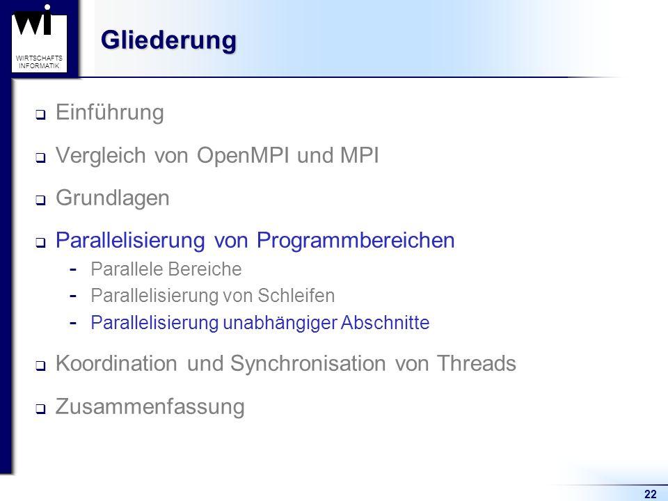 22 WIRTSCHAFTS INFORMATIKGliederung Einführung Vergleich von OpenMPI und MPI Grundlagen Parallelisierung von Programmbereichen  Parallele Bereiche 