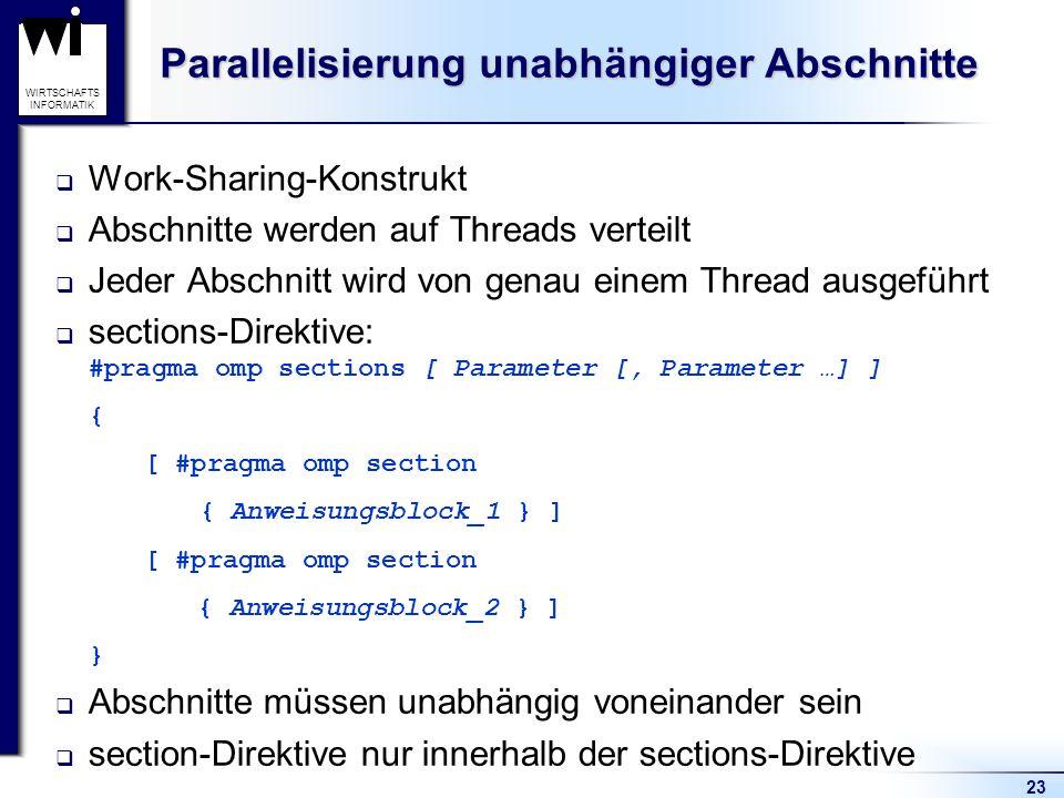 23 WIRTSCHAFTS INFORMATIK Parallelisierung unabhängiger Abschnitte Work-Sharing-Konstrukt Abschnitte werden auf Threads verteilt Jeder Abschnitt wird