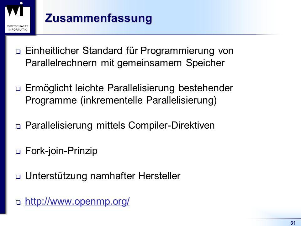 31 WIRTSCHAFTS INFORMATIKZusammenfassung Einheitlicher Standard für Programmierung von Parallelrechnern mit gemeinsamem Speicher Ermöglicht leichte Pa