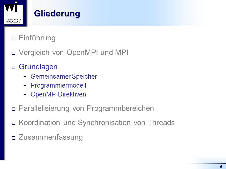 6 WIRTSCHAFTS INFORMATIKGliederung Einführung Vergleich von OpenMPI und MPI Grundlagen  Gemeinsamer Speicher  Programmiermodell  OpenMP-Direktiven