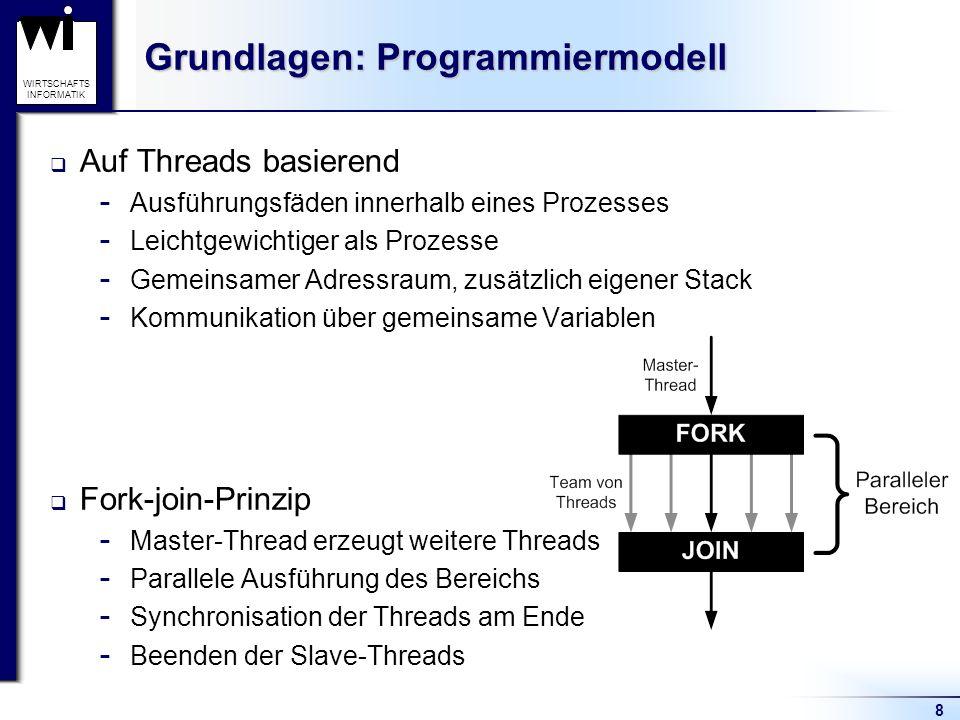 19 WIRTSCHAFTS INFORMATIK Beispiel for-Direktive: Primzahlenausgabe #include int main() { int zahl, teiler, treffer; printf ( Primzahlen: \n ); #pragma omp parallel for private(teiler,treffer) \ schedule(dynamic,100) for (zahl = 2; zahl < 100000; zahl++) { treffer = 0; #pragma omp parallel for private(teiler, treffer) // Überprüfung ob 2 bis zahl Teiler von zahl for (teiler = 2; teiler < zahl; teiler++) { if (zahl % teiler == 0) { treffer = 1; } } if (treffer == 0) { printf ( %d, , zahl); } } } Mögliche Ausgabe: Primzahlen: 2, 3, 5, 7, 11, 13, 101, 19, 23, 113, 29, […], 99991,