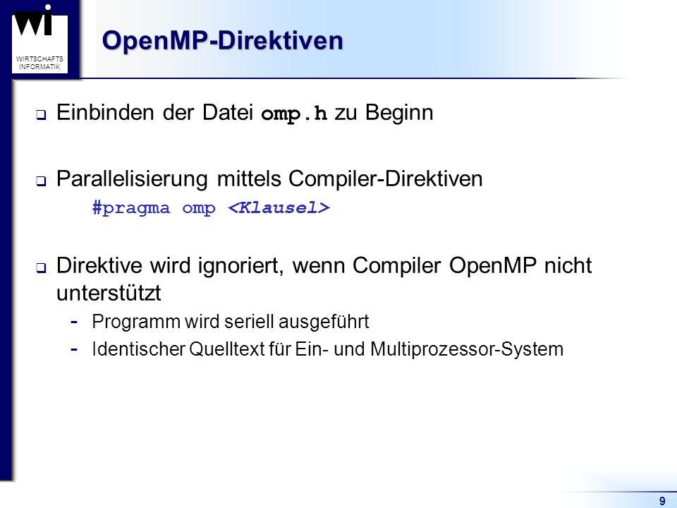 9 WIRTSCHAFTS INFORMATIKOpenMP-Direktiven Einbinden der Datei omp.h zu Beginn Parallelisierung mittels Compiler-Direktiven #pragma omp Direktive wird