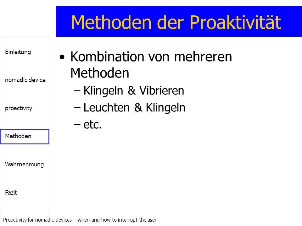 Einleitung nomadic device proactivity Methoden Wahrnehmung Fazit Proactivity for nomadic devices – when and how to interrupt the user Methoden der Pro
