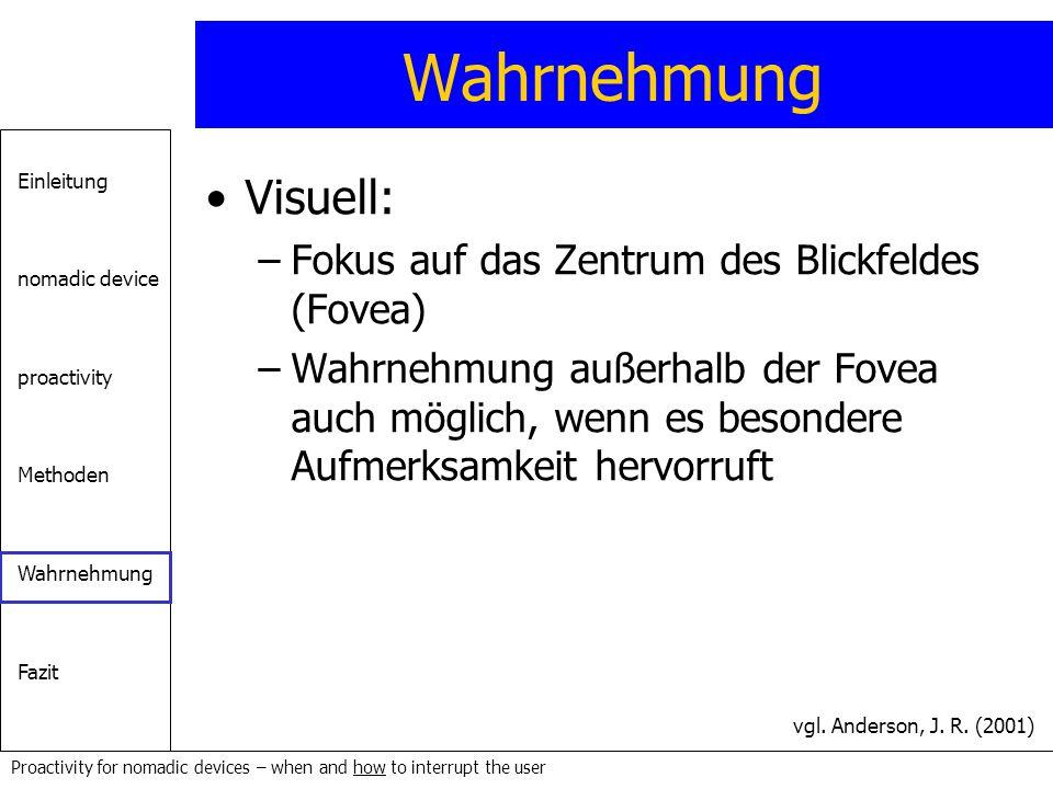 Einleitung nomadic device proactivity Methoden Wahrnehmung Fazit Proactivity for nomadic devices – when and how to interrupt the user Wahrnehmung Visu