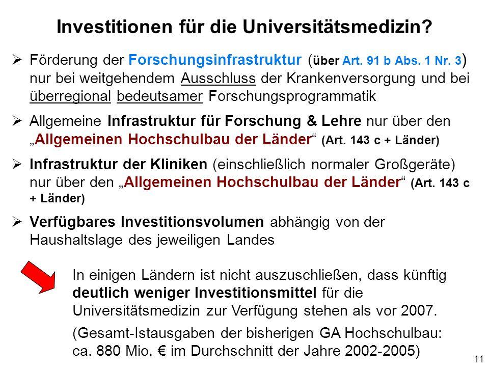 11 Investitionen für die Universitätsmedizin? Förderung der Forschungsinfrastruktur ( über Art. 91 b Abs. 1 Nr. 3 ) nur bei weitgehendem Ausschluss de