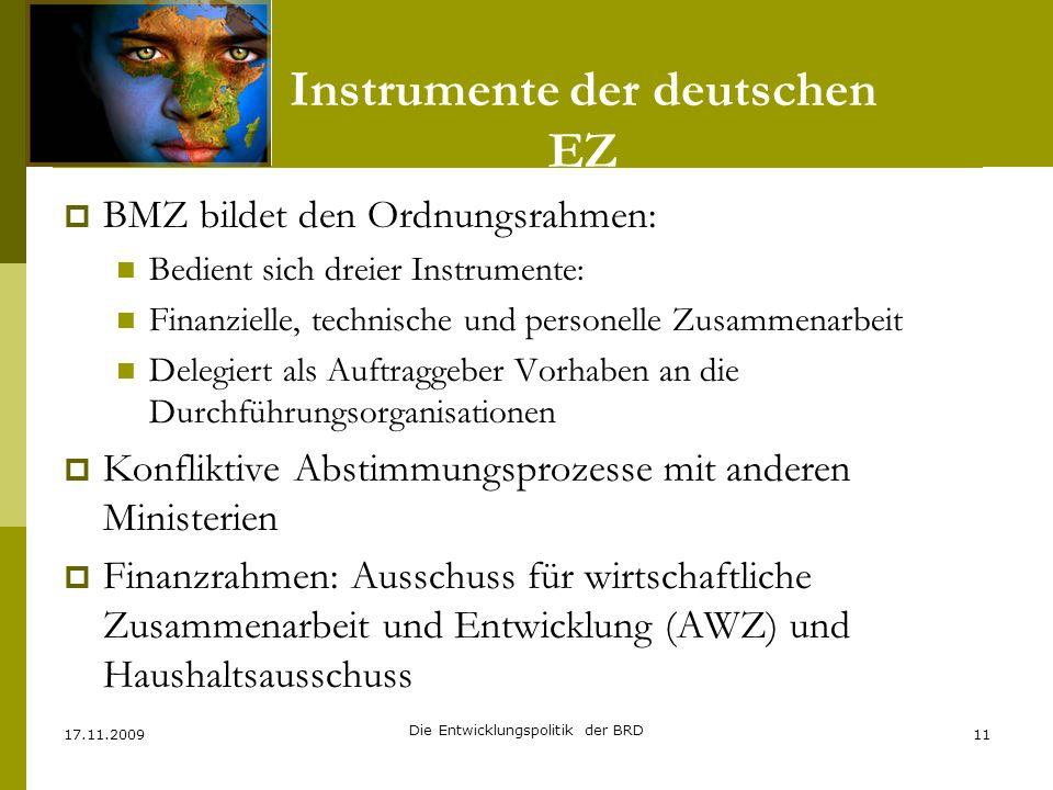 Instrumente der deutschen EZ BMZ bildet den Ordnungsrahmen: Bedient sich dreier Instrumente: Finanzielle, technische und personelle Zusammenarbeit Del