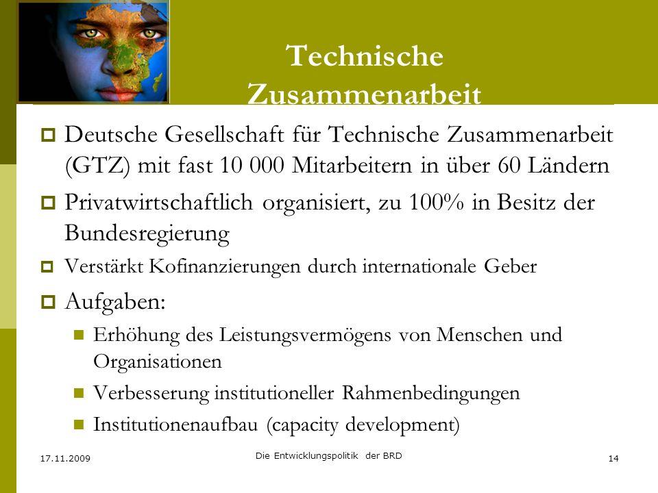 Technische Zusammenarbeit Deutsche Gesellschaft für Technische Zusammenarbeit (GTZ) mit fast 10 000 Mitarbeitern in über 60 Ländern Privatwirtschaftli