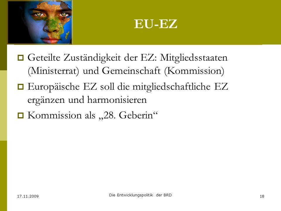 EU-EZ Geteilte Zuständigkeit der EZ: Mitgliedsstaaten (Ministerrat) und Gemeinschaft (Kommission) Europäische EZ soll die mitgliedschaftliche EZ ergän