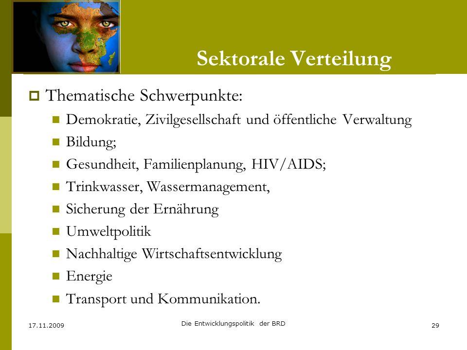 Thematische Schwerpunkte: Demokratie, Zivilgesellschaft und öffentliche Verwaltung Bildung; Gesundheit, Familienplanung, HIV/AIDS; Trinkwasser, Wasser