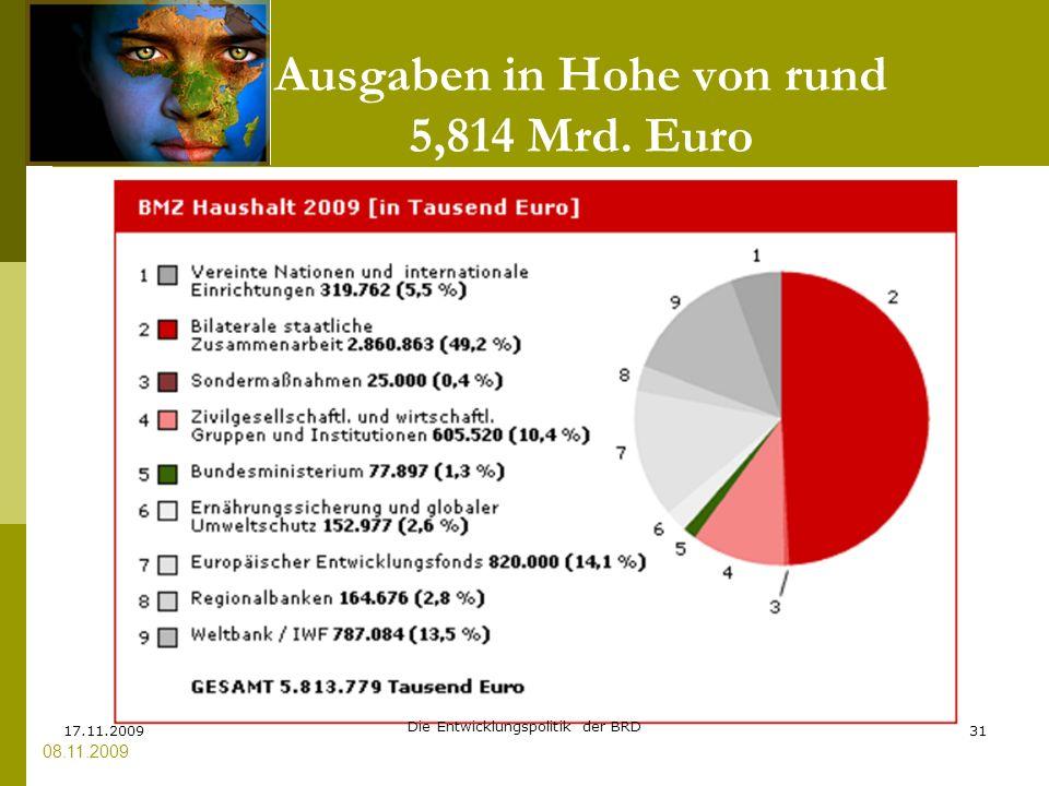 Ausgaben in Hohe von rund 5,814 Mrd. Euro 08.11.2009 17.11.200931 Die Entwicklungspolitik der BRD