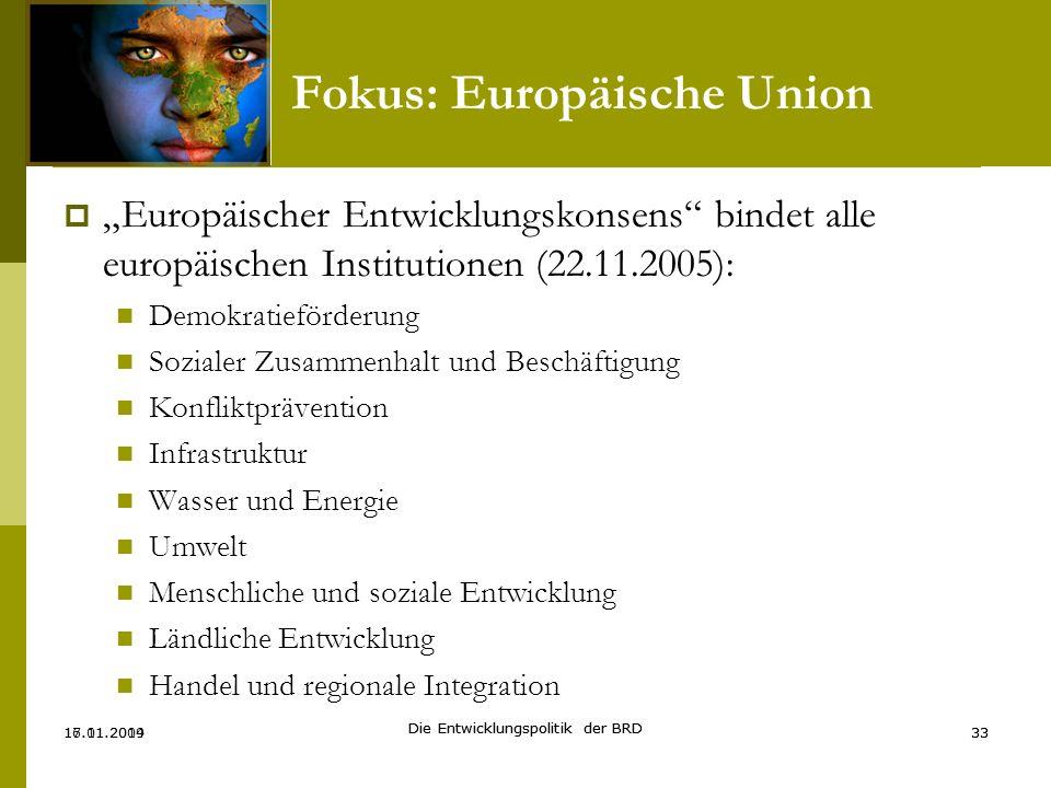 Europäischer Entwicklungskonsens bindet alle europäischen Institutionen (22.11.2005): Demokratieförderung Sozialer Zusammenhalt und Beschäftigung Konf