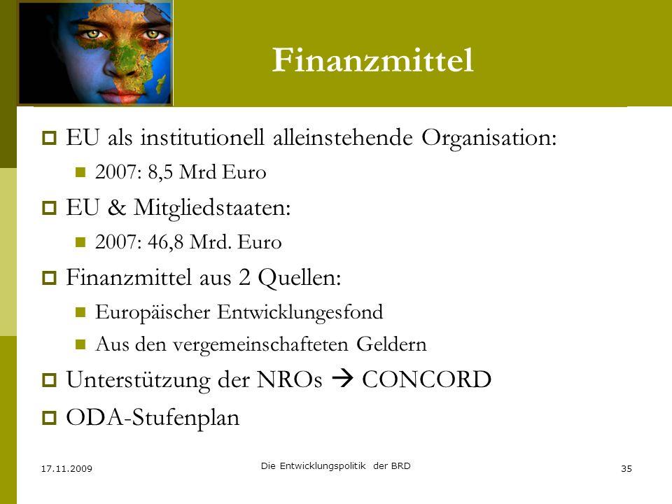 Finanzmittel EU als institutionell alleinstehende Organisation: 2007: 8,5 Mrd Euro EU & Mitgliedstaaten: 2007: 46,8 Mrd. Euro Finanzmittel aus 2 Quell