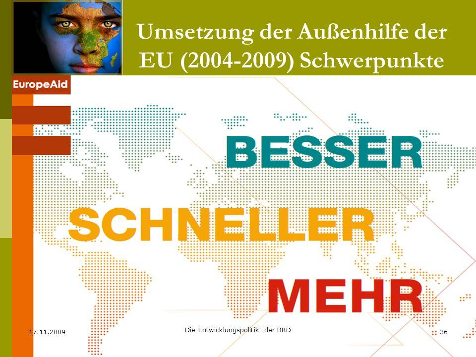 Umsetzung der Außenhilfe der EU (2004-2009) Schwerpunkte 17.11.200936 Die Entwicklungspolitik der BRD