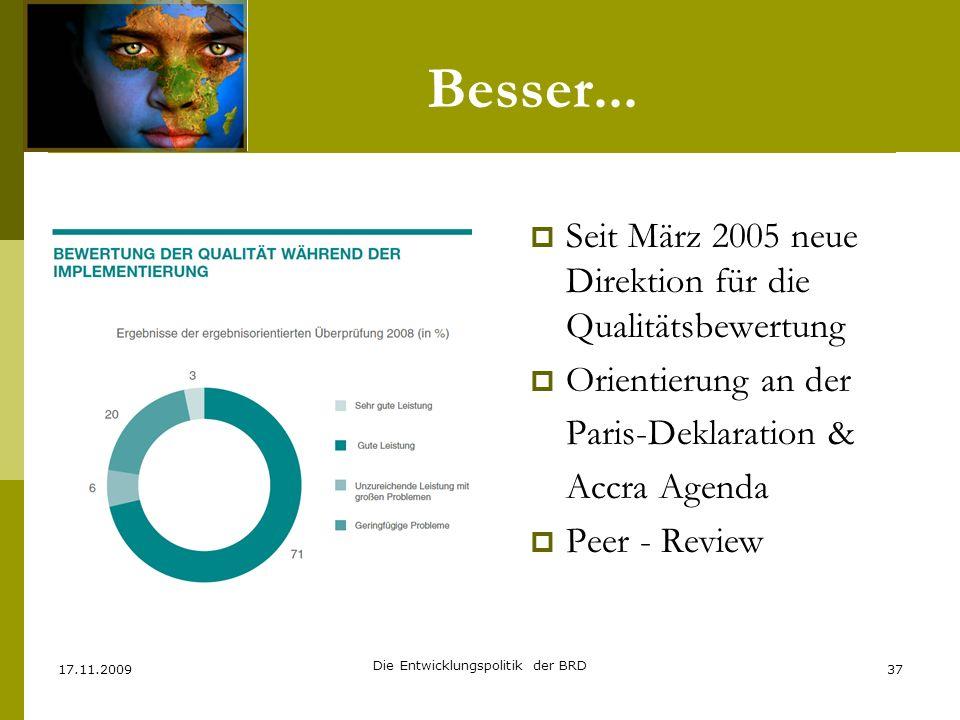 Besser... Seit März 2005 neue Direktion für die Qualitätsbewertung Orientierung an der Paris-Deklaration & Accra Agenda Peer - Review 17.11.200937 Die