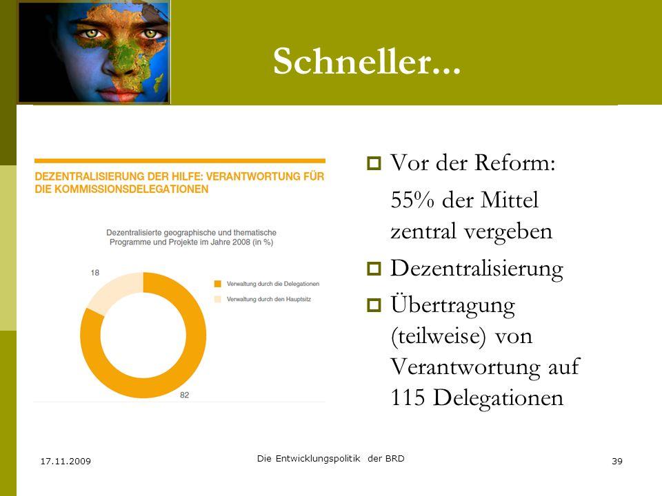 Schneller... Vor der Reform: 55% der Mittel zentral vergeben Dezentralisierung Übertragung (teilweise) von Verantwortung auf 115 Delegationen 17.11.20