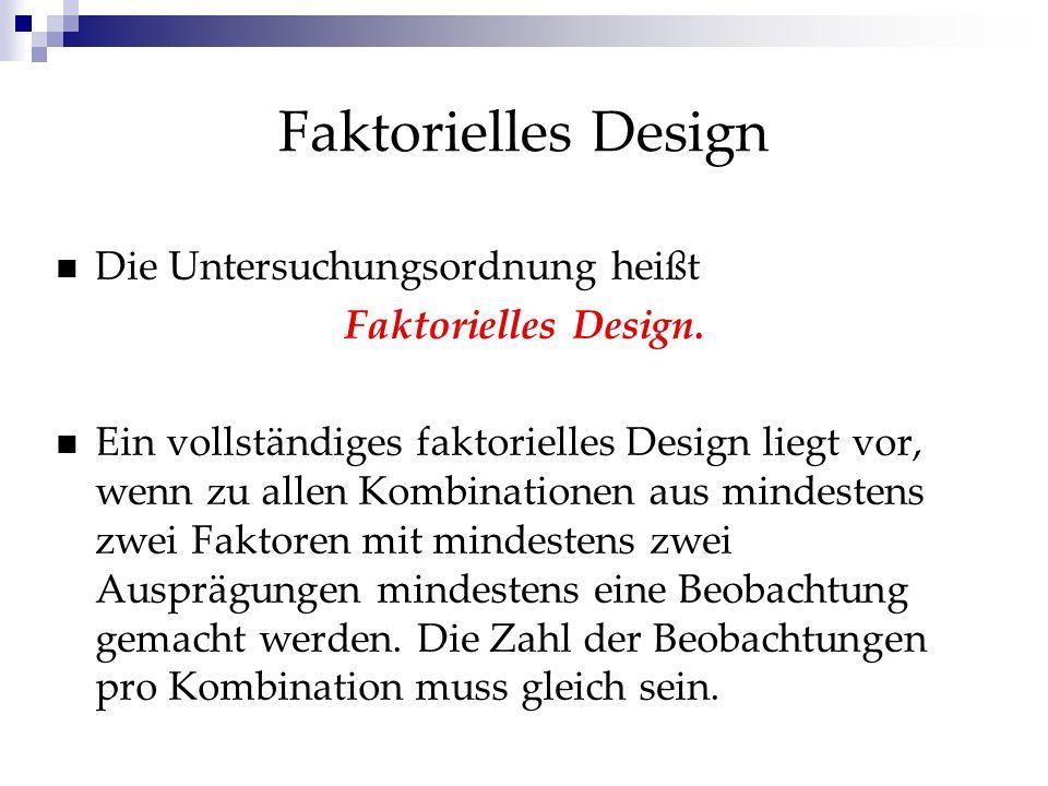 Faktorielles Design: Beispiel drei Bildungsniveaus (niedrig, mittel, hoch) zwei Geschlechtern (m/w) 3 x 2 experimentelle Kombinationen der Faktorenstufen (3x2-faktorielles Design)