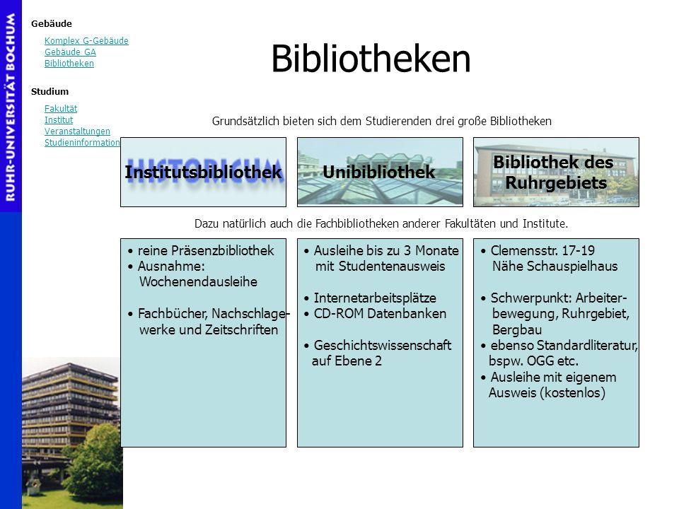 Gebäude Komplex G-Gebäude Gebäude GA Bibliotheken Studium Fakultät Institut Veranstaltungen Studieninformation Bibliothek des Ruhrgebiets Bibliotheken