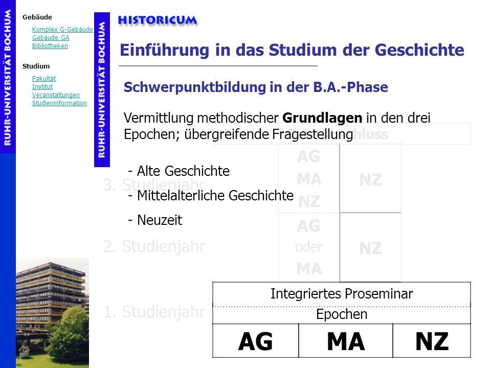 Gebäude Komplex G-Gebäude Gebäude GA Bibliotheken Studium Fakultät Institut Veranstaltungen Studieninformation AG oder MA Einführung in das Studium de