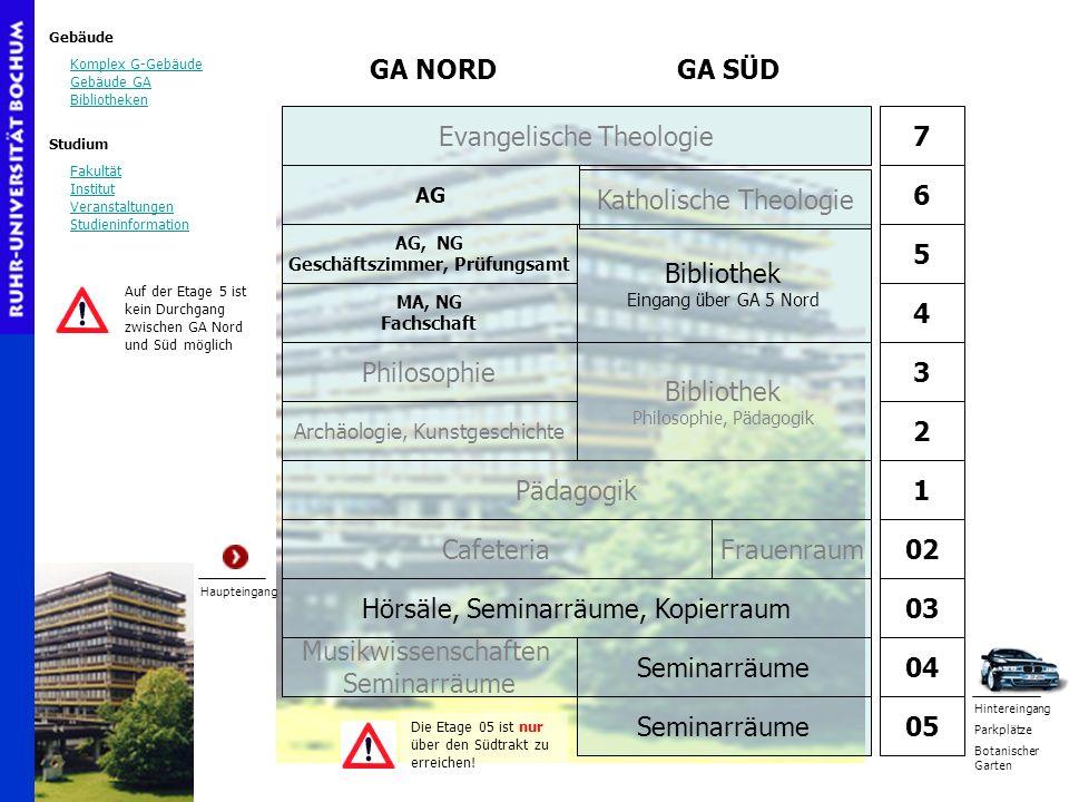 Gebäude Komplex G-Gebäude Gebäude GA Bibliotheken Studium Fakultät Institut Veranstaltungen Studieninformation AG, NG Geschäftszimmer, Prüfungsamt MA,