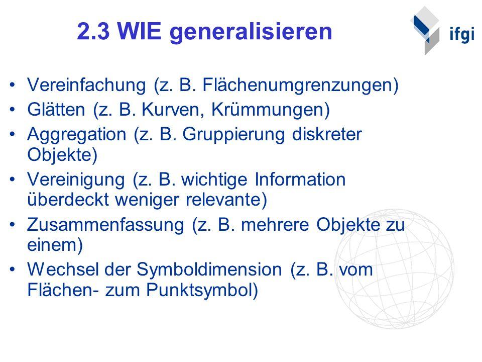 2.3 WIE generalisieren Vereinfachung (z. B. Flächenumgrenzungen) Glätten (z. B. Kurven, Krümmungen) Aggregation (z. B. Gruppierung diskreter Objekte)