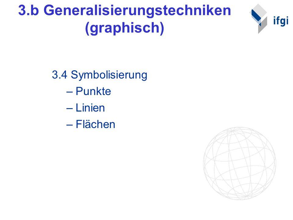 3.b Generalisierungstechniken (graphisch) 3.4 Symbolisierung –Punkte –Linien –Flächen