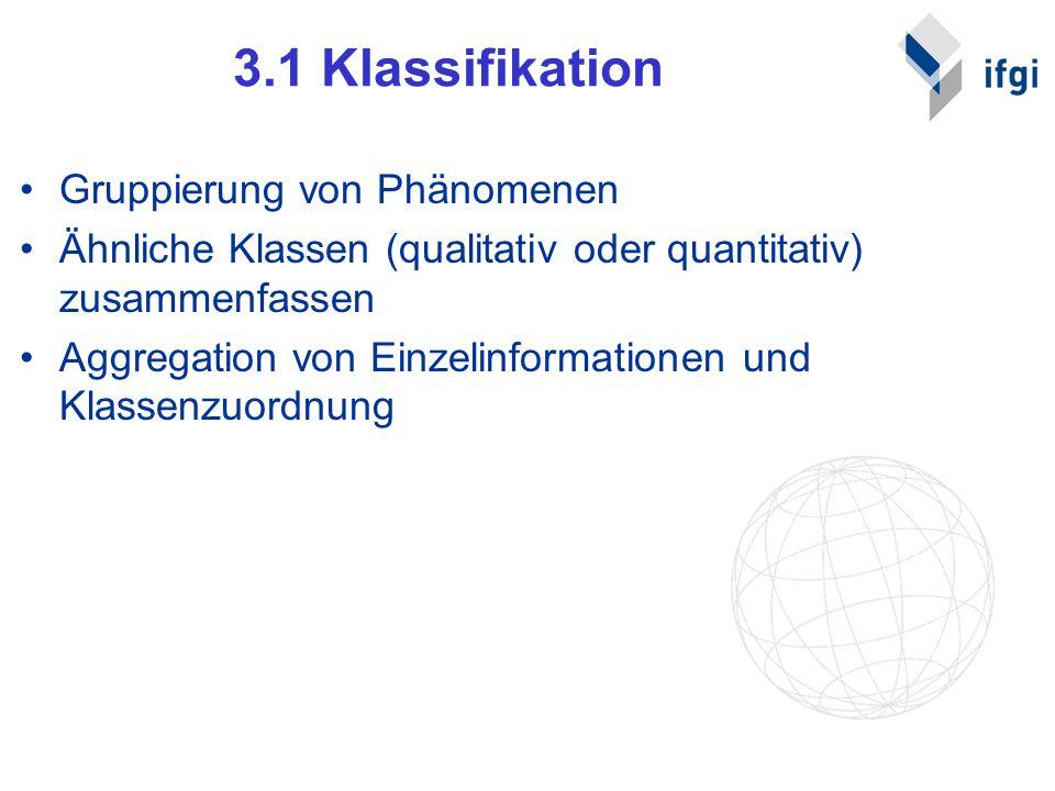 3.1 Klassifikation Gruppierung von Phänomenen Ähnliche Klassen (qualitativ oder quantitativ) zusammenfassen Aggregation von Einzelinformationen und Kl