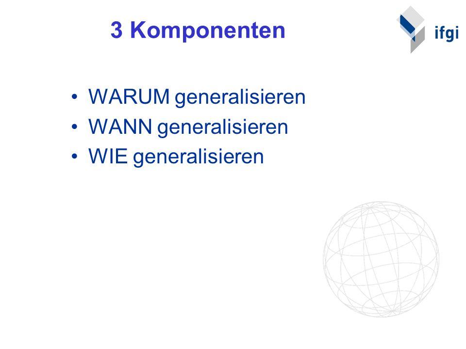 2.1 WARUM generalisieren Zur Verbesserung der Aussagekraft und des Verständnisses thematischer Karten (spezielle Anwendungsfälle, konkrete Antworten auf Fragen) –Beispiele: Karten für Verkehrsplaner, für Umweltplaner, für Stadtplaner….