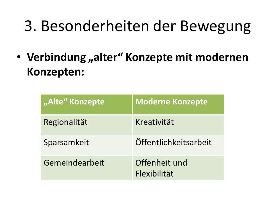 3. Besonderheiten der Bewegung Verbindung alter Konzepte mit modernen Konzepten: Alte KonzepteModerne Konzepte RegionalitätKreativität SparsamkeitÖffe