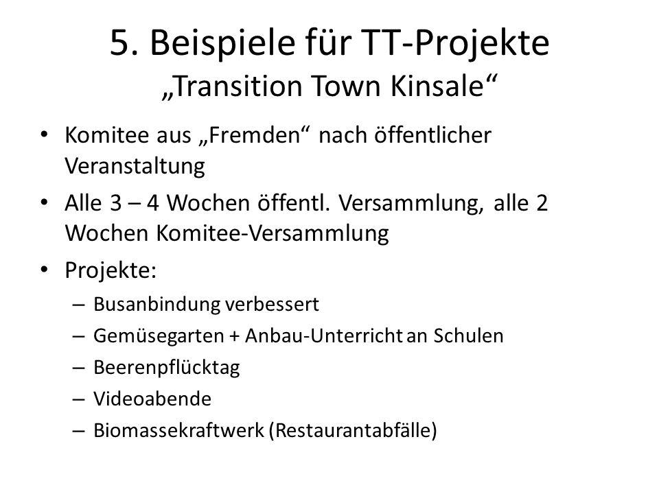 5. Beispiele für TT-Projekte Transition Town Kinsale Komitee aus Fremden nach öffentlicher Veranstaltung Alle 3 – 4 Wochen öffentl. Versammlung, alle