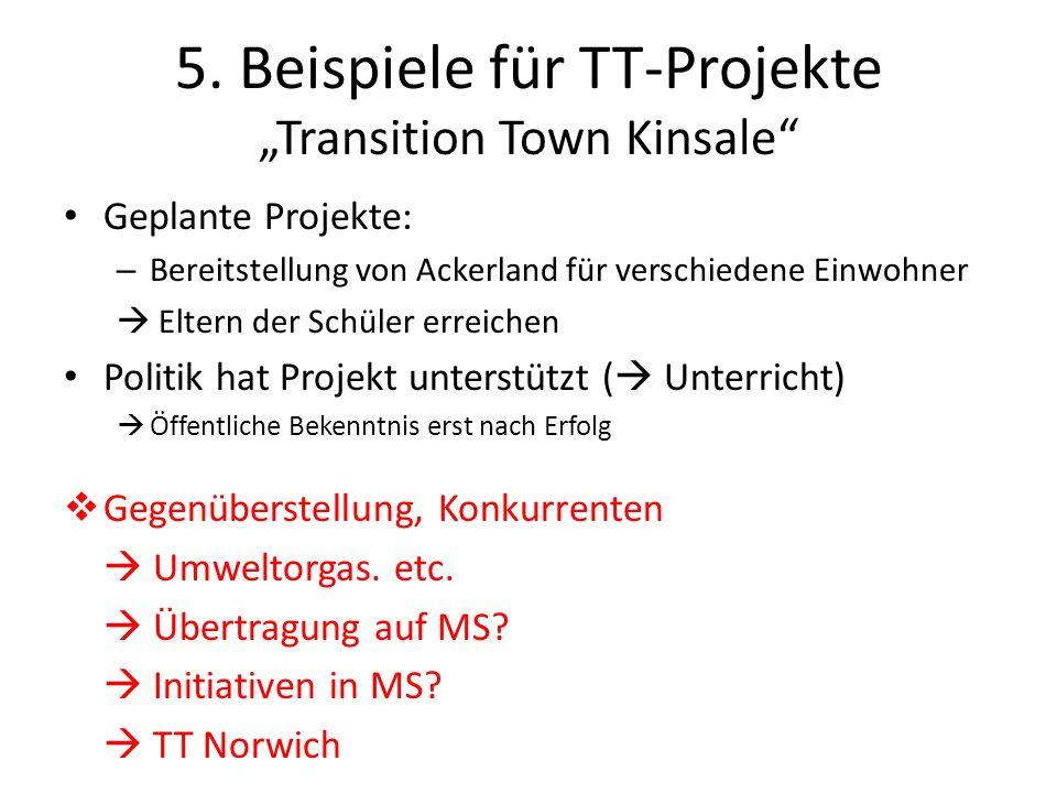 5. Beispiele für TT-Projekte Transition Town Kinsale Geplante Projekte: – Bereitstellung von Ackerland für verschiedene Einwohner Eltern der Schüler e